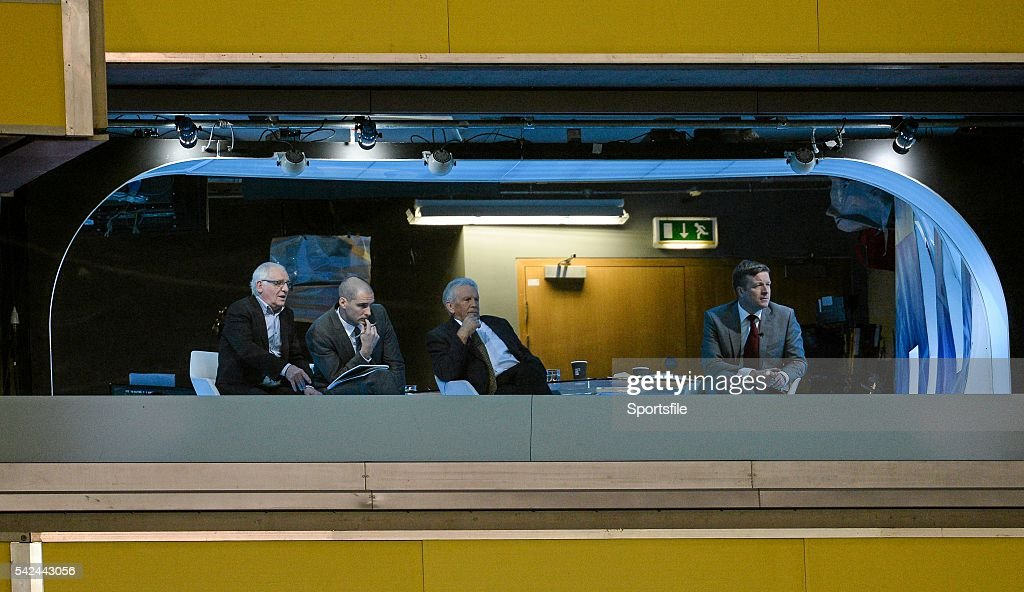 15 October 2013; The RTE panellists of, from left, Eamon Dunphy, Richie Sadlier and John Giles, with anchor Darragh Maloney, look on during the game. 2014 FIFA World Cup Qualifier, Group C, Republic of Ireland v Kazakhstan, Aviva Stadium, Lansdowne Road, Dublin. Picture credit: Ramsey Cardy / SPORTSFILE