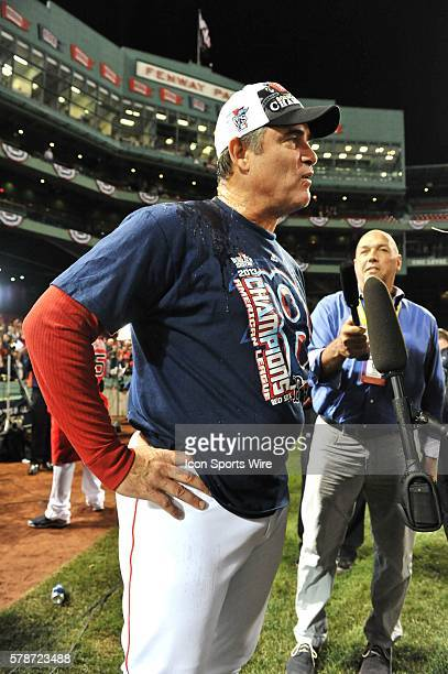 Boston Red Sox manager John Farrell talks to the media during the celebration of The American League Title after the Boston Red Sox game against the...