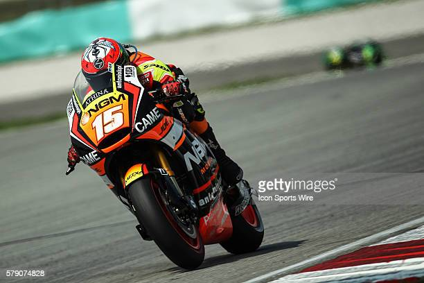 Alex De Angelis of NGM Mobile Forward Racing in action during saturday's free practice session of the Malaysian Motorcycle Grand Prix held at Sepang...