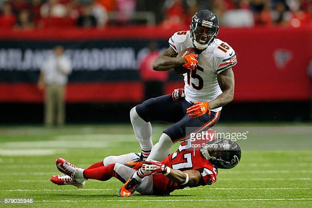 Chicago Bears wide receiver Brandon Marshall is brought down by Atlanta Falcons cornerback Robert McClain in the Chicago Bears 2713 victory over the...