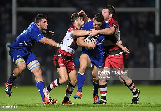 October 2014; Noel Reid, Leinster, supported by team-mate Ben Marshall, left, is tackled by Andries Strauss, second from left, and Ben Toolis,...