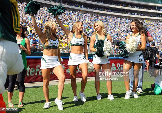 Oregon cheerleaders during an NCAA football game between the Oregon Ducks and the UCLA Bruins at the Rose Bowl in Pasadena CA