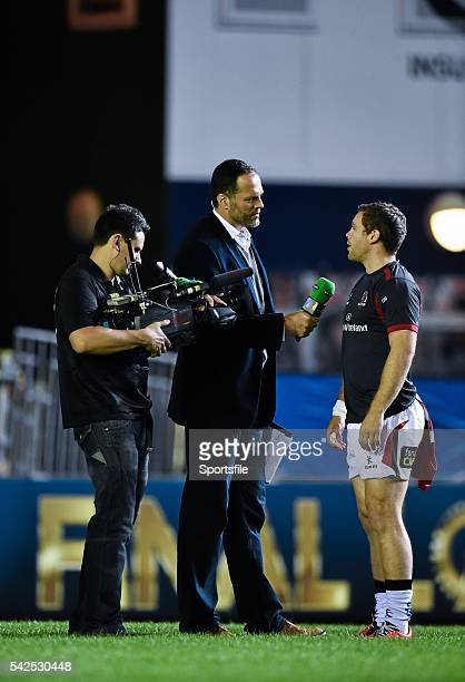 18 October 2014 Ulster's Darren Cave is interviewed for BT Sport by Martin Bayfield European Rugby Champions Cup 2014/15 Pool 3 Round 1 Leicester...