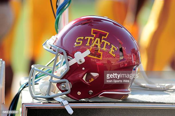 An Iowa State helmet during 66 - 31 loss to the Red Raiders at Jones AT&T Stadium in Lubbock, Texas.