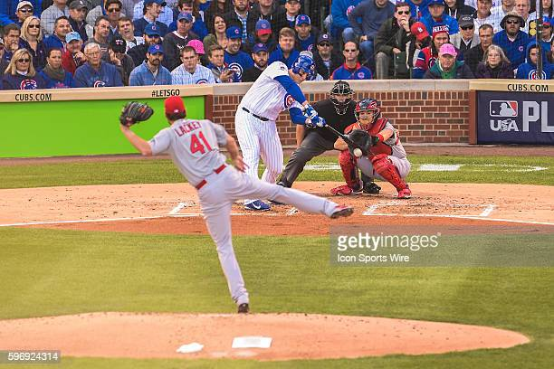 Anthony Rizzo singles while playing in game 4 of the NLDS in a game between the St Louis Cardinals and the Chicago Cubs at Wrigley Field Chicago Il...