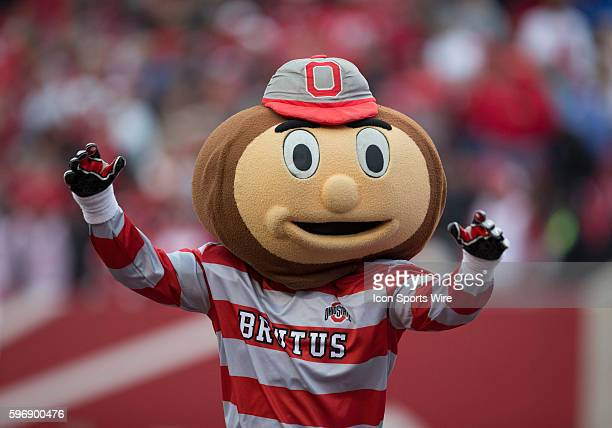 Brutus the Buckeye shows his spirit during the game between the Indiana Hoosiers and the Ohio State Buckeyes at Memorial Stadium in Bloomington...
