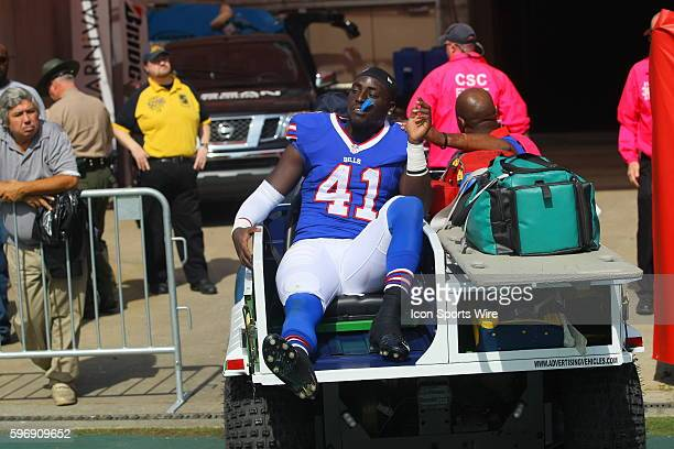 Buffalo Bills Running Back Cierre Wood is carted off the field during the NFL football game between the Buffalo Bills and the Tennessee Titans The...