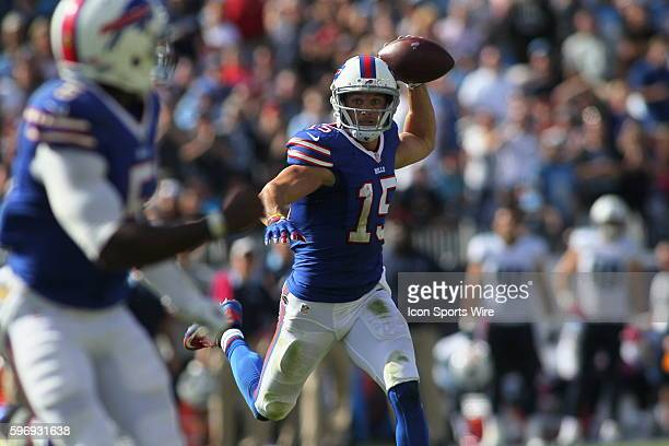 Buffalo Bills Wide Receiver Chris Hogan passes to Buffalo Bills Quarterback Tyrod Taylor on a pass back to the quarterback during the NFL football...