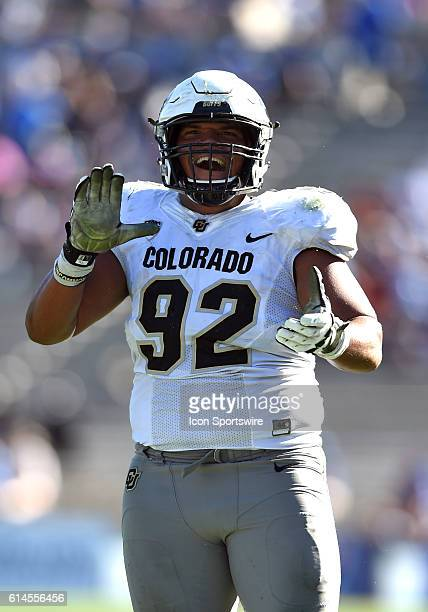 Colorado Jordan Carrell celebrates after a Colorado defensive turnover for a touchdown during an NCAA football game between the Colorado Buffaloes...