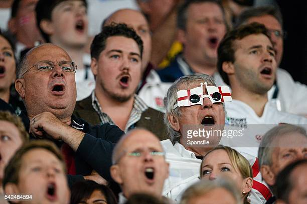 October 2015; England supporters during the singing of the National Anthems. 2015 Rugby World Cup, Pool A, England v Australia, Twickenham Stadium,...