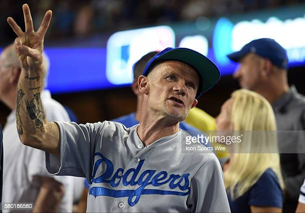 Flea from the Red Hot Chili Peppers sings Take Me Out to the Ballgame during game 1 of the NLDS between the New York Mets and the Los Angeles Dodgers...