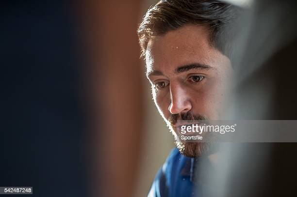 7 October 2015 France's Alexandre Dumoulin speaks to the media during a press conference France Rugby Press Conference 2015 Rugby World Cup Vale...