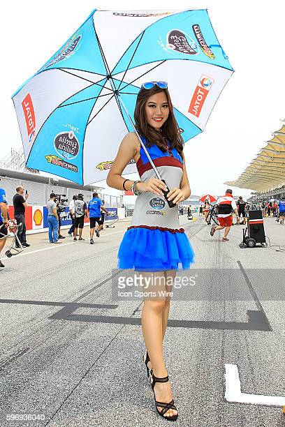 Grid girl on the start before the start of Moto3 race of the Malaysian Motorcycle Grand Prix held at Sepang International Circuit in Sepang Malaysia