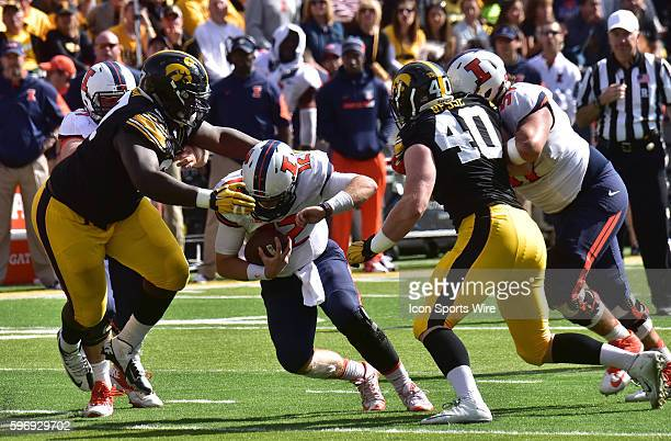 Illinois quarterback West Lunt is sacked during a Big Ten Conference football game between the University of Iowa Hawkeyes and the University of...