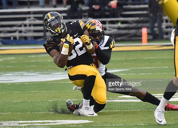 Iowa fullback Derrick Mitchell catches a pass in the first quarter during a Big Ten football game between the Maryland Terrapins and the Iowa...