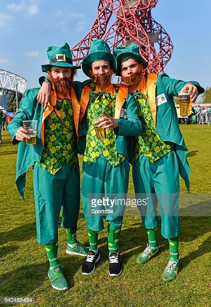 4 October 2015 Ireland supporters from left Shane Conlon Thomas Finnegan and Peter Dooney all from Monaghan at the Olympic Park 2015 Rugby World Cup...