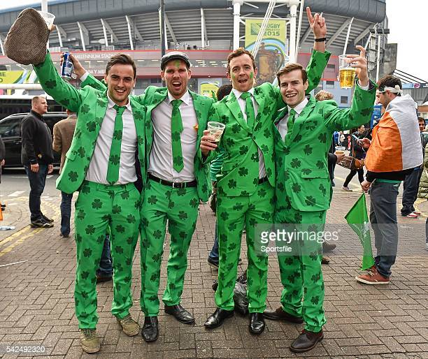 October 2015; Ireland supporters, from left, Tim Ryan, Chris Fitzgerald, Richard Jermyn and Cian O'Brien all from Dublin before the game. 2015 Rugby...