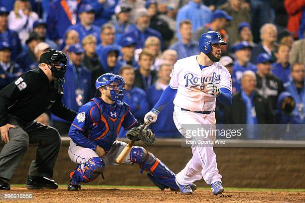 Kansas City Royals third baseman Mike Moustakas gets a base hit during a 54 win against the New York Mets in 15 innings of Game 1 of the World Series...