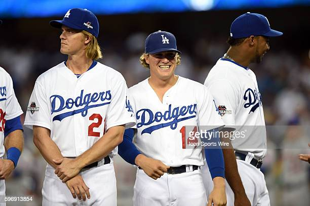 Los Angeles Dodgers Starting pitcher Zack Greinke [3081] and Los Angeles Dodgers Infield Enrique Hernandez [7322] prior to game 1 of the NLDS between...