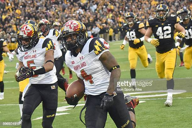Maryland cornerback William Likely runs back a kickoff for a score in the fourth quarter during a Big Ten football game between the Maryland...