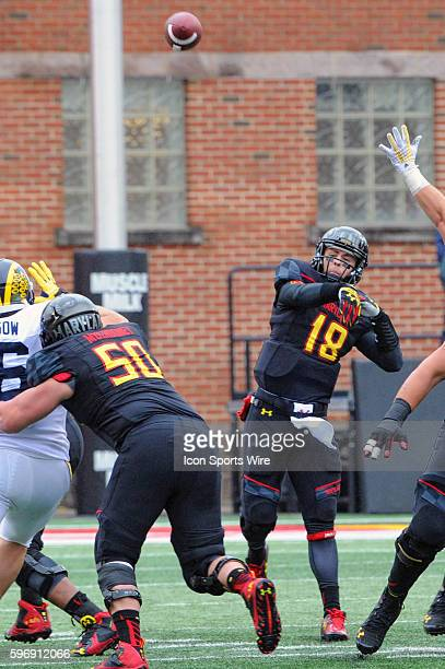 Maryland Terrapins quarterback Daxx Garman in action at Byrd Stadium in College Park MD where the Michigan Wolverines defeated the Maryland Terrapins...