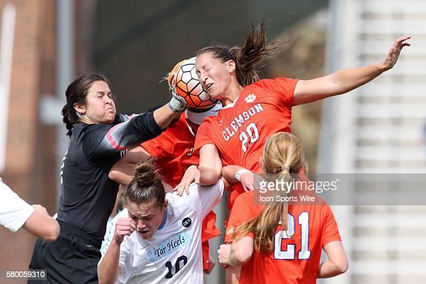 North Carolina's Bryane Heaberlin tries to grab the ball as Clemson's Jenna Weston is heading it The University of North Carolina Tar Heels hosted...
