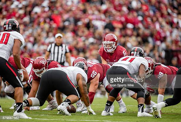 Oklahoma quarterback Baker Mayfield under center during the Oklahoma Sooners 6327 win over the Texas Tech Red Raiders at Gaylord Family Oklahoma...