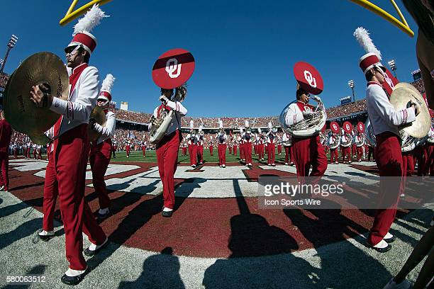 Oklahoma Sooners' marching band exits the field before the Oklahoma Sooners versus the Texas Longhorns in the Red River Rivalry at the Cotton Bowl in...