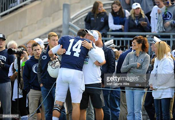 Penn State QB Christian Hackenberg hugs his dad Erick Hackenberg during warmups Hackenberg threw for two touchdowns and ran for two touchdowns The...