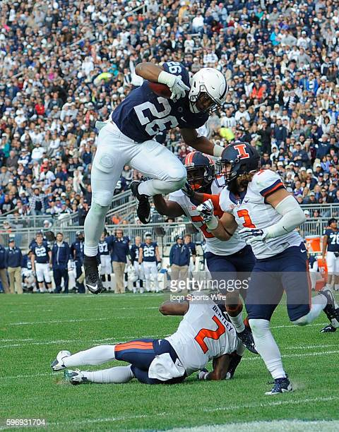 Penn State RB Saquon Barkley hurdles Illinois CB V'Angelo Bentley during a 7 yard touchdown run The Penn State Nittany Lions defeated the Illinois...