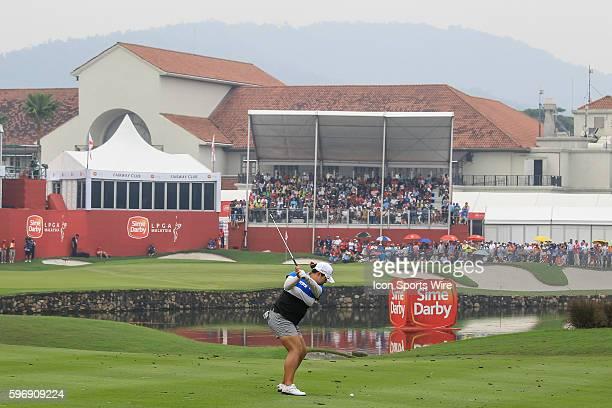 Shanshan Feng of China play a shot during the final round of the 2015 Sime Darby LPGA Malaysia at Kuala Lumpur Golf and Country Club in Kuala Lumpur,...