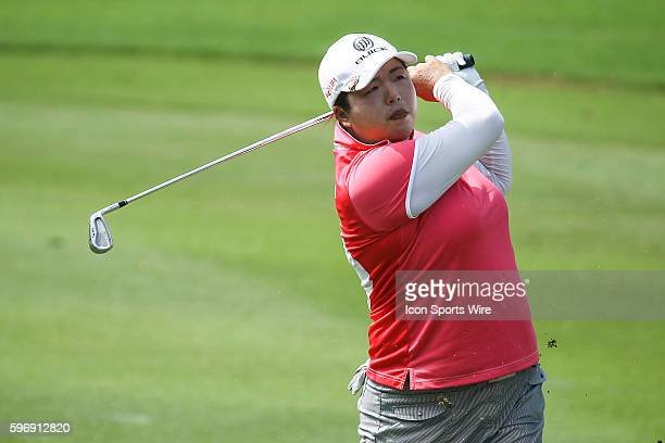 Shanshan Feng of China play a shot during the first round of the 2015 Sime Darby LPGA Malaysia at Kuala Lumpur Golf and Country Club in Kuala Lumpur,...