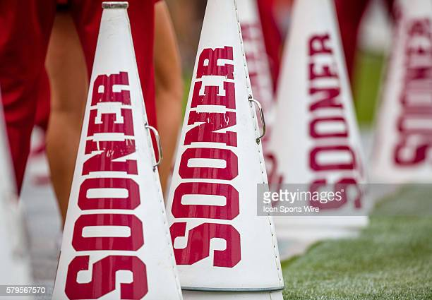 Sooner megaphones on the sideline during the Oklahoma Sooners 6327 win over the Texas Tech Red Raiders at Gaylord Family Oklahoma Memorial Stadium in...