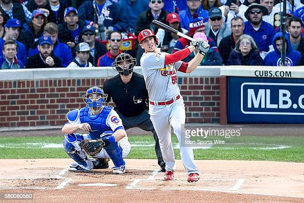 Stephen Piscotty homers in game 4 of the NLDS in a game between the St Louis Cardinals and the Chicago Cubs at Wrigley Field Chicago Il Chicago...