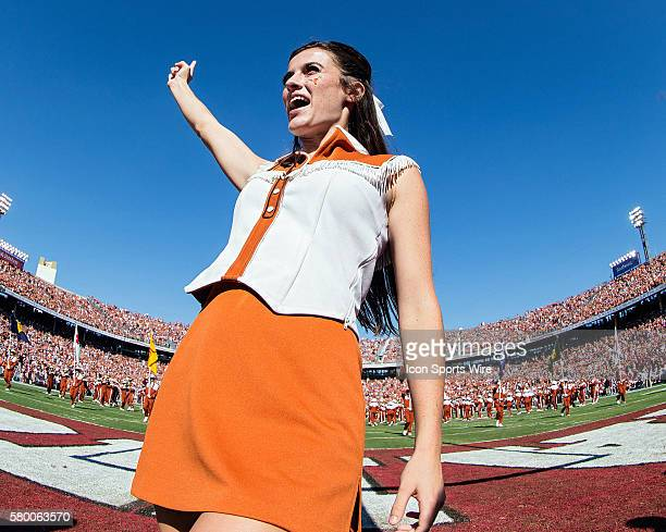 Texas Longhorns cheerleaders entertain the crowd during the Oklahoma Sooners versus the Texas Longhorns in the Red River Rivalry at the Cotton Bowl...
