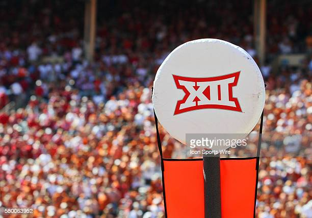 The Big12 logo on the chains during an NCAA football game between the Texas Longhorns and the Oklahoma Sooners at the Cotton Bowl in Dallas TX Texas...