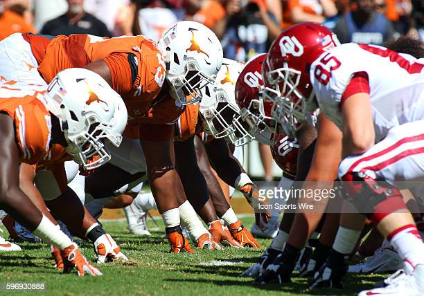 The line of scrimmage during an NCAA football game between the Texas Longhorns and the Oklahoma Sooners at the Cotton Bowl in Dallas TX Texas won 2417