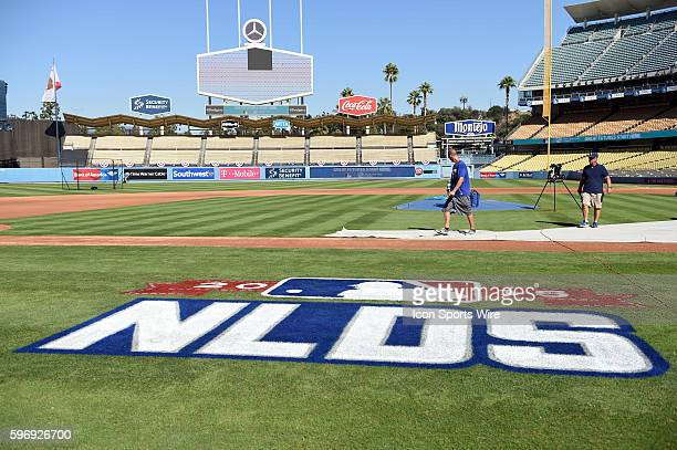 The NLDS 2015 logo on the field prior to game 1 of the NLDS between the New York Mets and the Los Angeles Dodgers at Dodger Stadium in Los Angeles CA