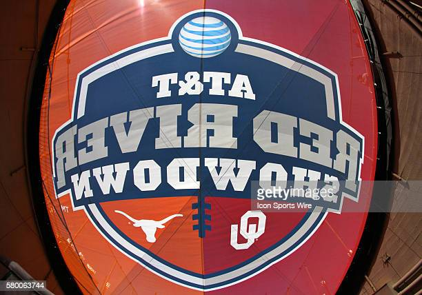 The Red River Showdown logo above tunnel during an NCAA football game between the Texas Longhorns and the Oklahoma Sooners at the Cotton Bowl in...