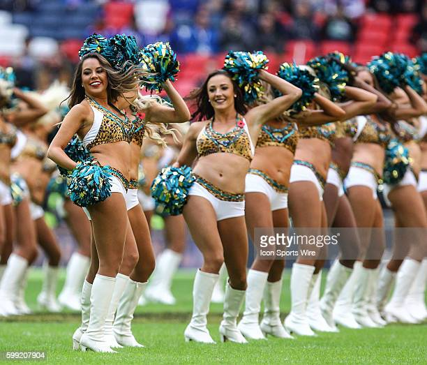The Roar of the Jaguars perform before the International Series Game 13 between the Buffalo Bills and the Jacksonville Jaguars, played at Wembley...