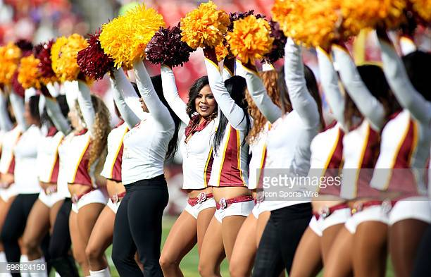 Washington Redskins cheerleaders perform during a match between the Washington Redskins and the Tampa Bay Buccaneers at FedEx Field in Landover...