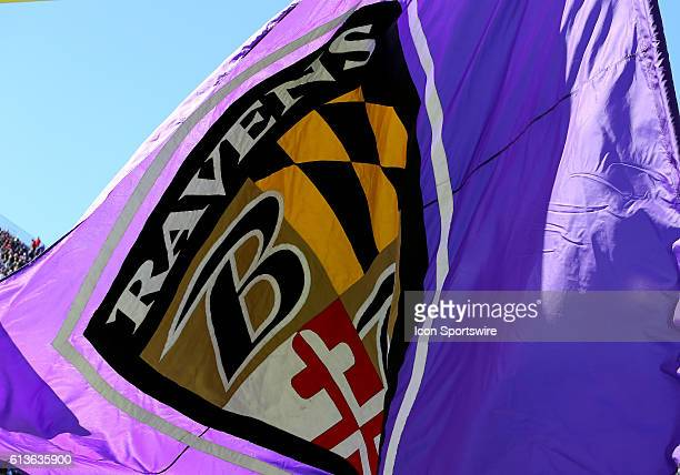 A Baltimore Ravens flag flies proudly during a match between the Baltimore Ravens and the Washington Redskins at MT Bank Stadium in Baltimore Maryland