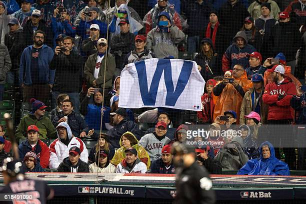 A Chicago Cubs fan prepare waves a 'W' flag in the stands during the ninth inning of the 2016 World Series Game 2 between the Chicago Cubs and...