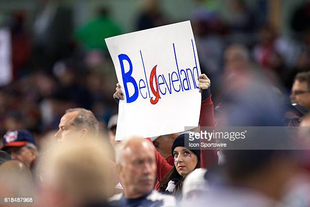8ae22617c61 A Cleveland Indians fan holds up a sign during the fourth inning of the  2016 World