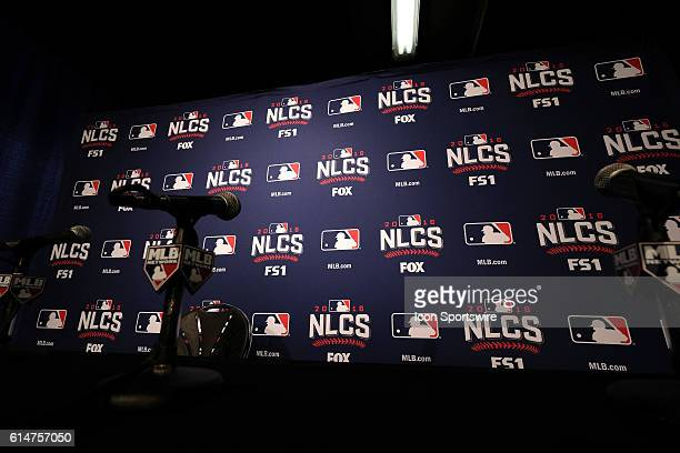 A general view of the NLCS backdrop for pre and post game interviews of players and managers during the NLCS Media Day events at Wrigley Field prior...