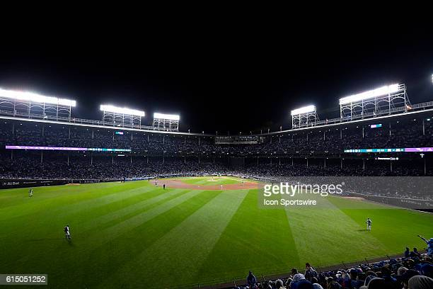 A general view of Wrigley Field from the bleachers during game one of the National League Championship Series between the Los Angeles Dodgers and the...