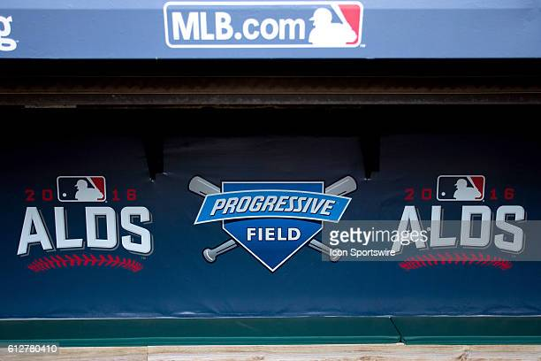 A sign on the wall of the visitors dugout as the Cleveland Indians workout in preparation for the American League Divisional Series against the...