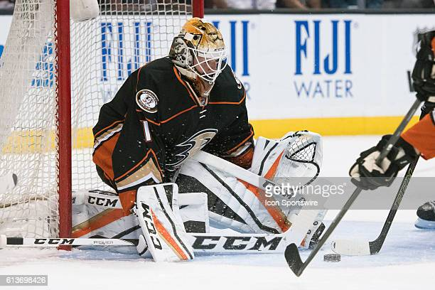 Anaheim Ducks goalie Jonathan Bernier saves the puck during the 1st period of a preseason NHL game between the San Jose Sharks and the Anaheim Ducks...