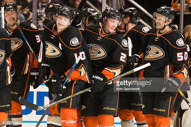 Anaheim Ducks right wing Corey Perry smiles after scoring the game winner to win 32 in overtime in a preseason NHL game between the San Jose Sharks...