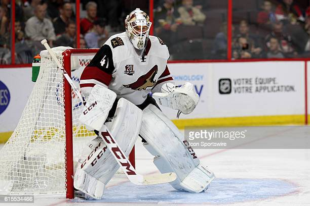 Arizona Coyotes Goalie Mike Smith during a game between the Coyotes and Senators at Canadian Tire Centre in Ottawa On